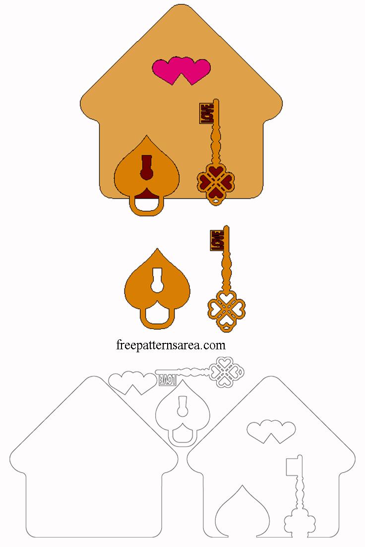 Laser Cut Keychain & Key Holder Template