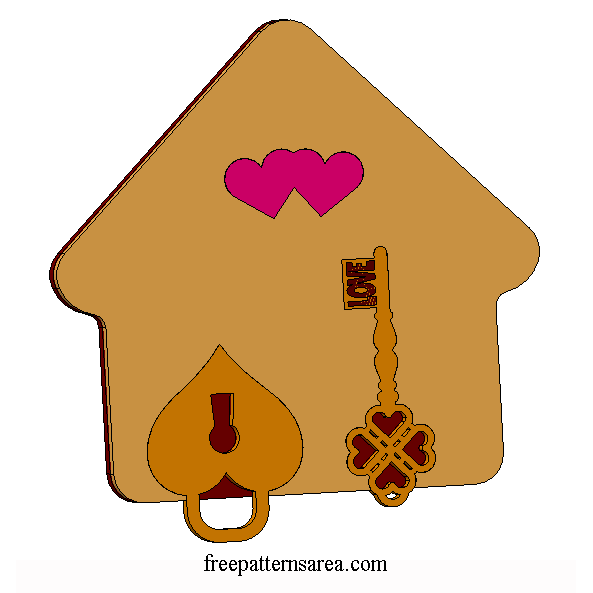 Laser Cut Wood Craft Keychain Key Holder Image