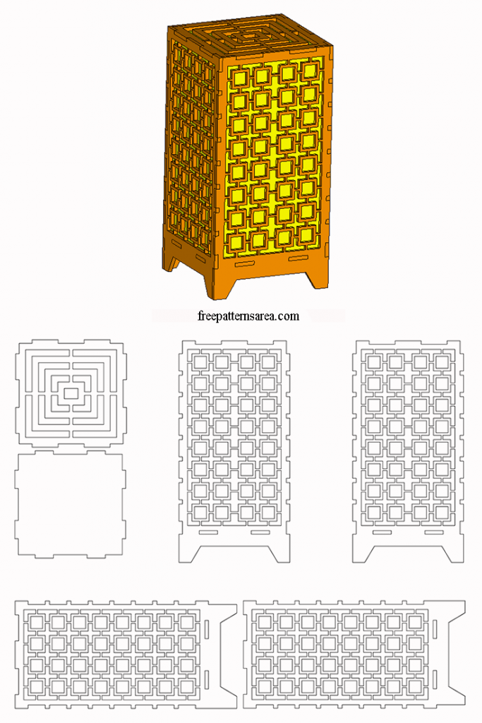 Laser Cut Wood Light Box Table Lamp dxf Plan