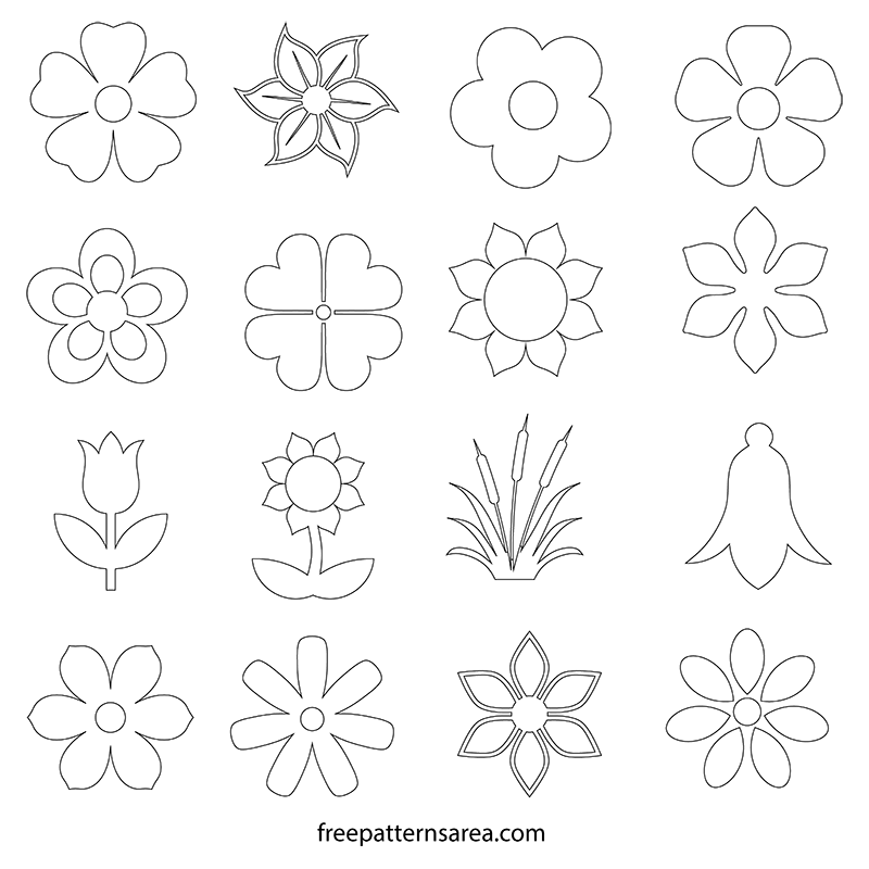 Printable Simple Flower Shapes Outline Pdf Template