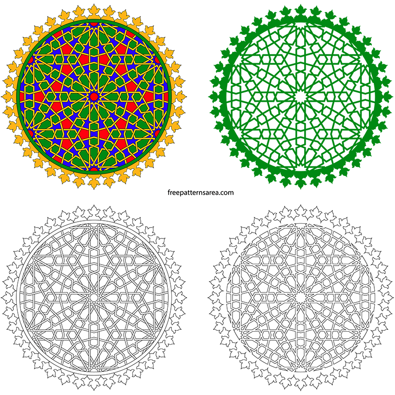 Geometric Islamic Art Decorative Free Vector Design