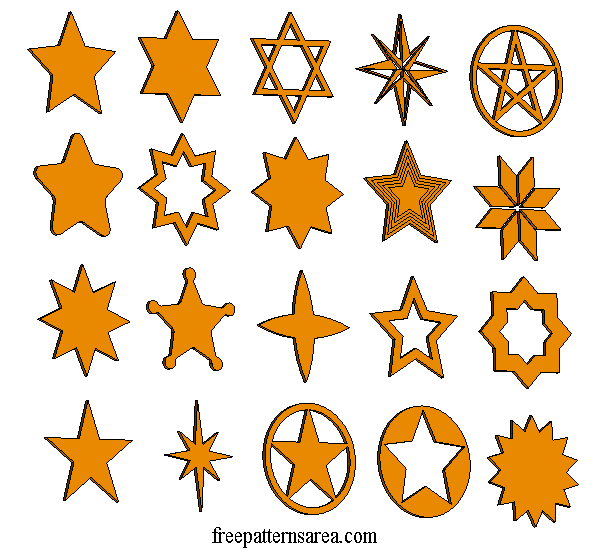 Laser Cut Craft Wooden Star Shapes Template