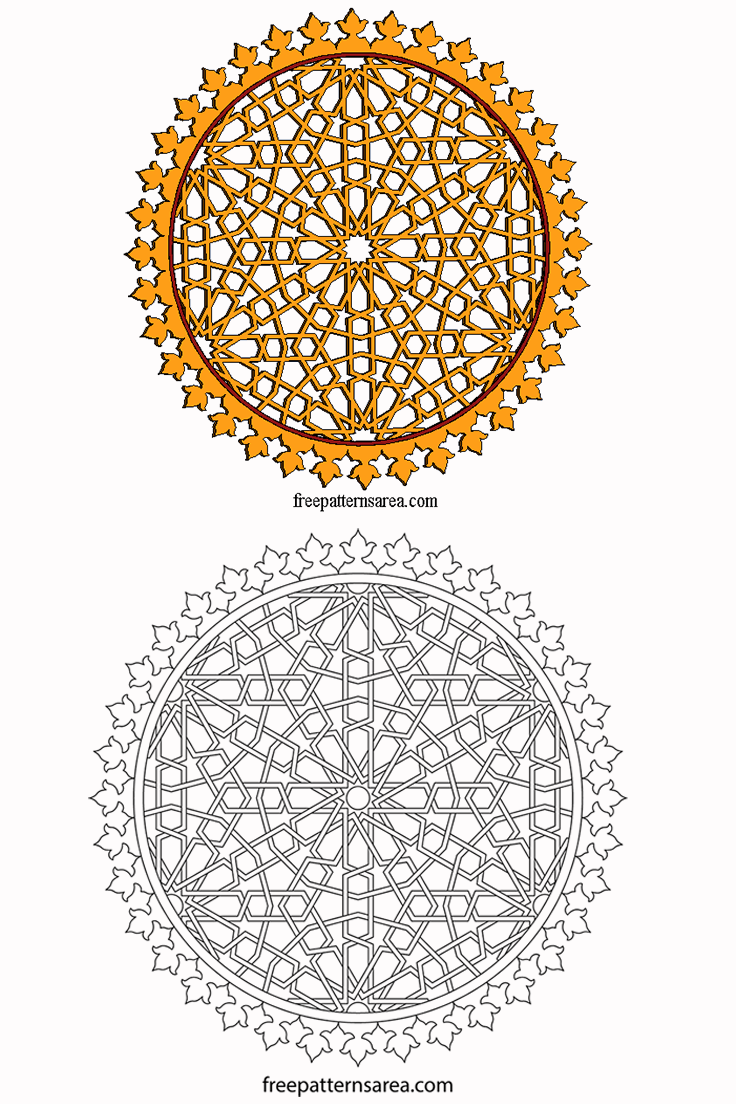Laser Cut Islamic Wood Ornament Template