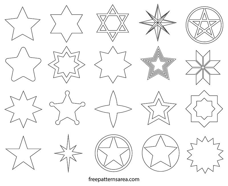 Printable Cut Out Star Shapes Templte