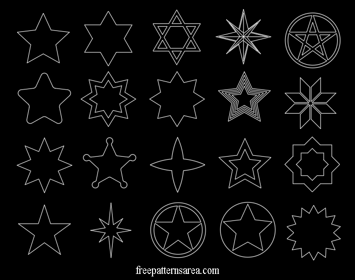 Star Shapes Autocad Dwg Dxf Files