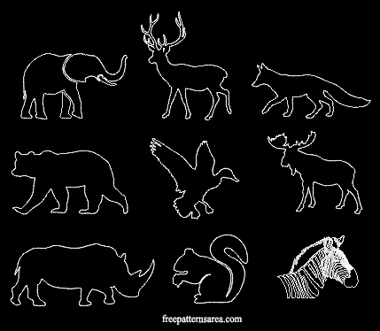 image about Printable Animal Stencils named Wildlife Pets Silhouette Stencil Printable Template