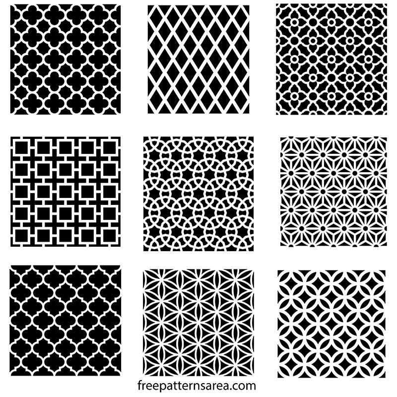 Geometric Repeating Wall Stencil Patterns