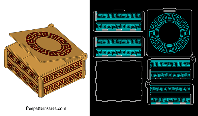 Laser Cut Engraved Dxf Box Plan