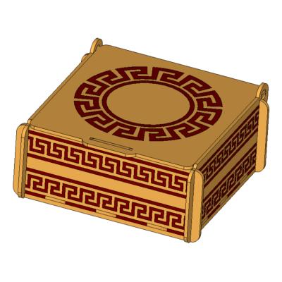 Laser Cut Engraved Wood Box İmage