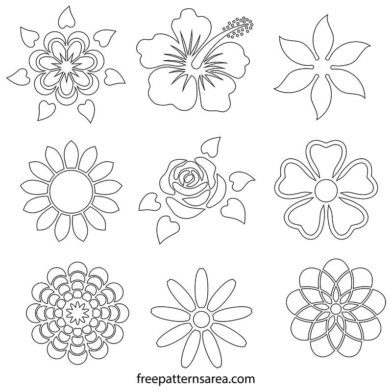 photo regarding Printable Flowers Stencils identified as Flower Stencil Patterns FreePatternsArea