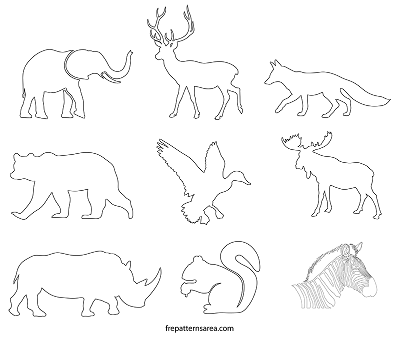 graphic relating to Animal Printable named Wildlife Pets Silhouette Stencil Printable Template