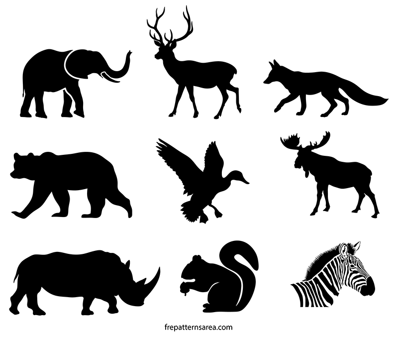 Wildlife Animals Silhouette Stencil Vectors