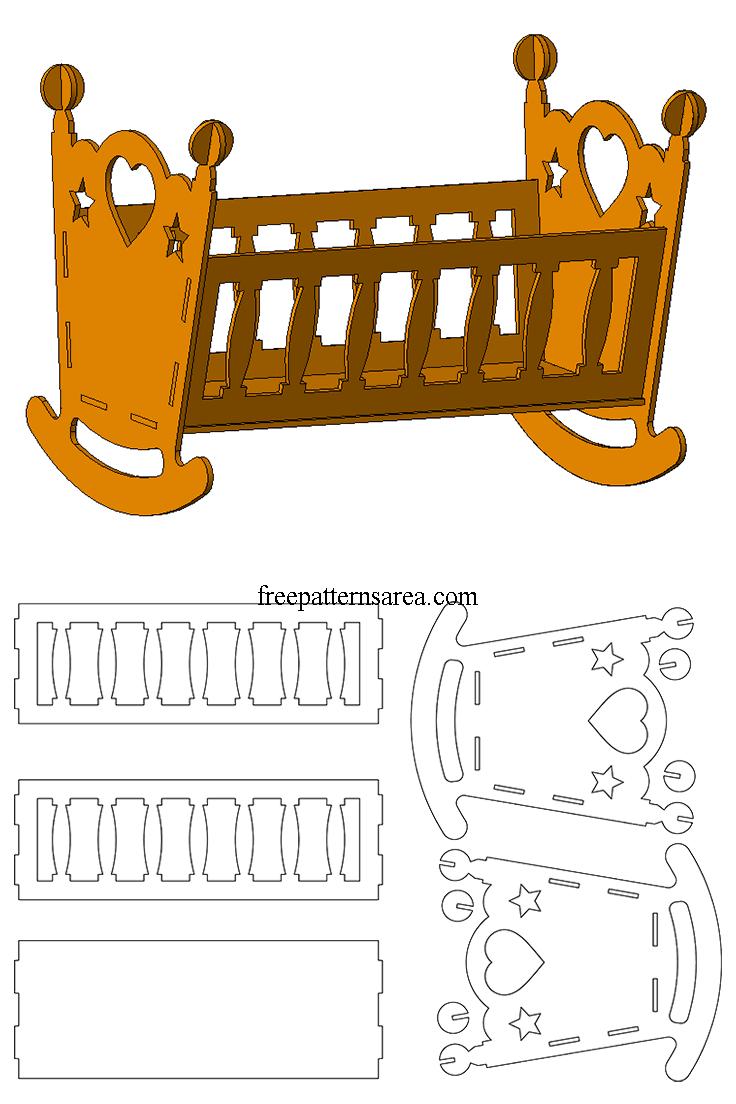 Wooden Doll Cradle Crib Laser Cut Toy Dxf Plan