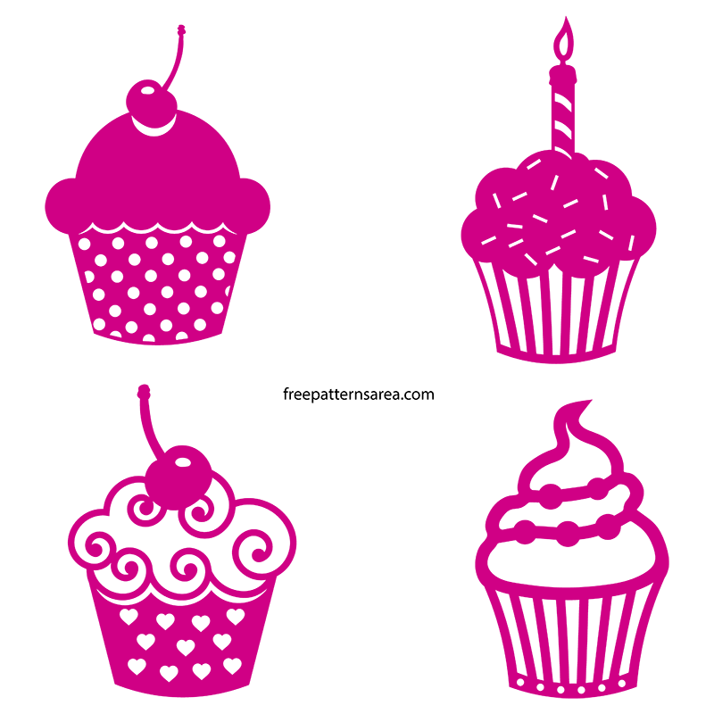 Cupcake Silhouette Free Svg Digital Cut Files for Cricut
