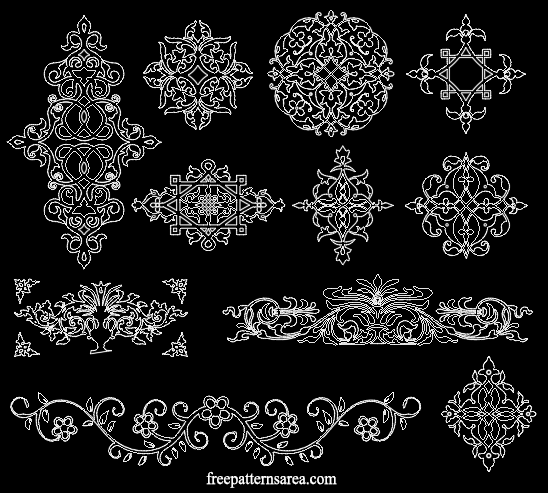 Decorative Floral Ornament Dxf Dwg Decor Design Files