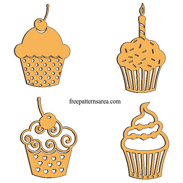 Laser Cut Wood Cupcake İmages