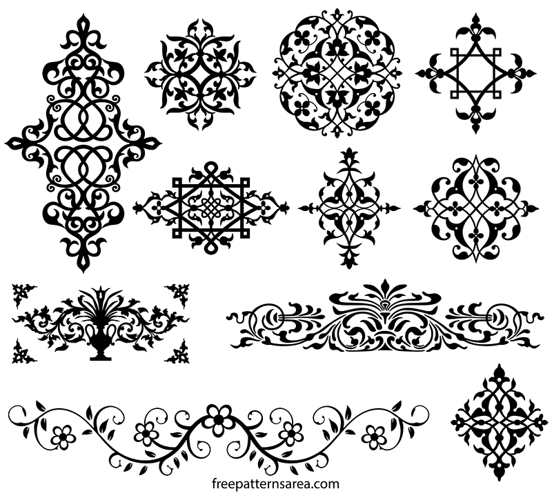 Geometrical Medieval Ornament Tiles Stencil Vector Stencil