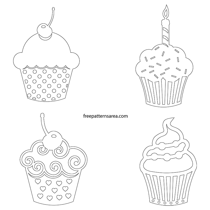 Printable Cupcake Cutouts Template