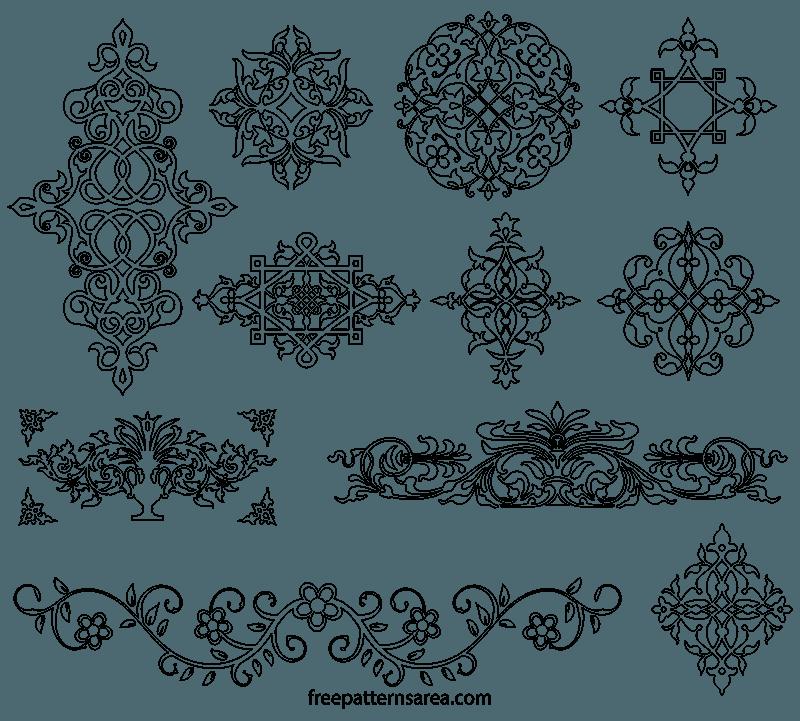 Medieval Ornament Floral Outline Template