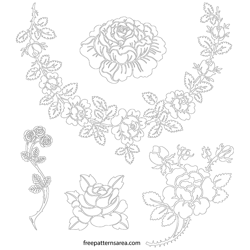 Printable Rose Stencil Outline Template