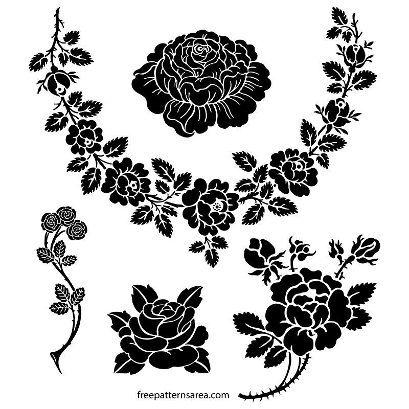 Rose Silhouette Vector Stencil Art Designs