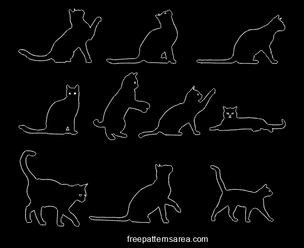 Cat Autocad Silhouette Dxf Dwg Pattern