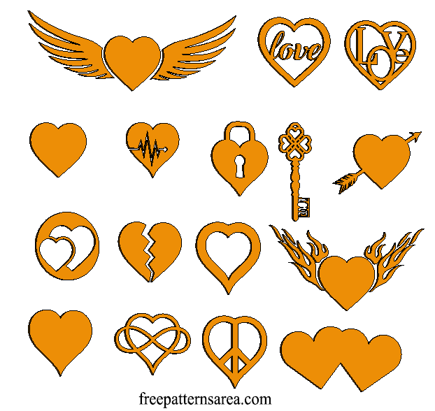 Heart Love Laser Cut Wooden Craft Shapes