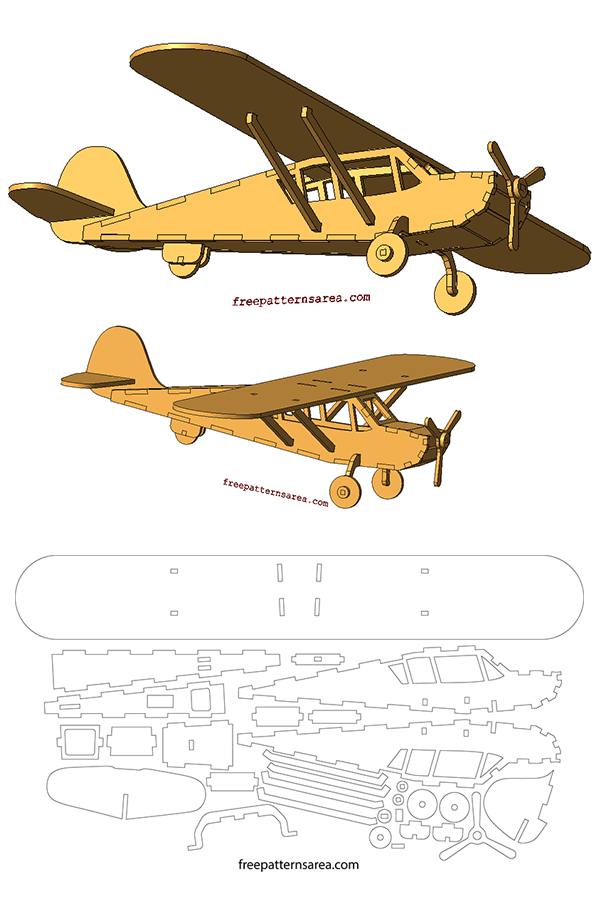 Laser Cut Model Plane 3d Puzzle Dxf Free Download