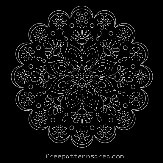 Mandala Autocad Dwg Dxf Stencil Template File