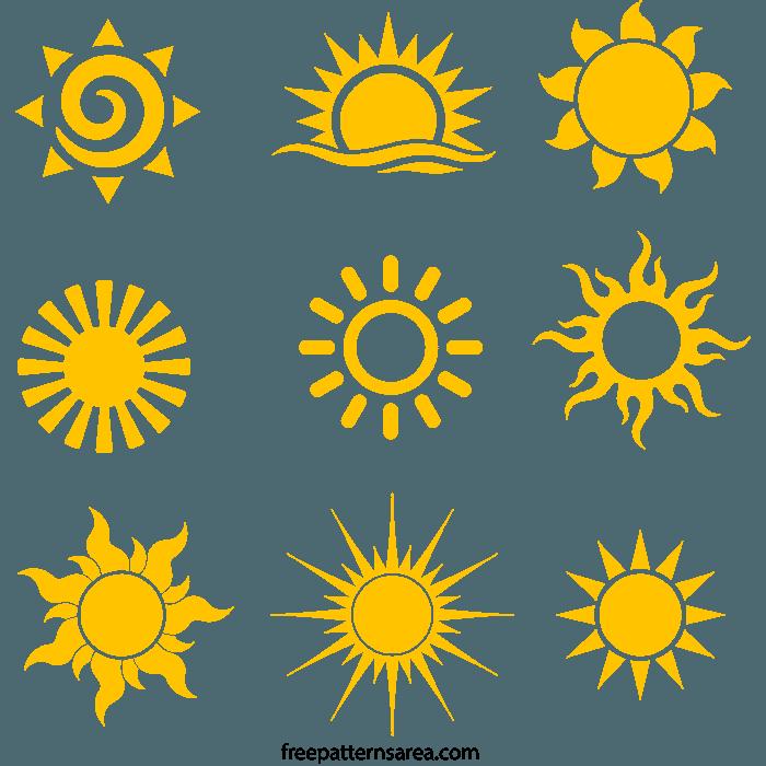 Yellow Sun Silhouette Free SVG File