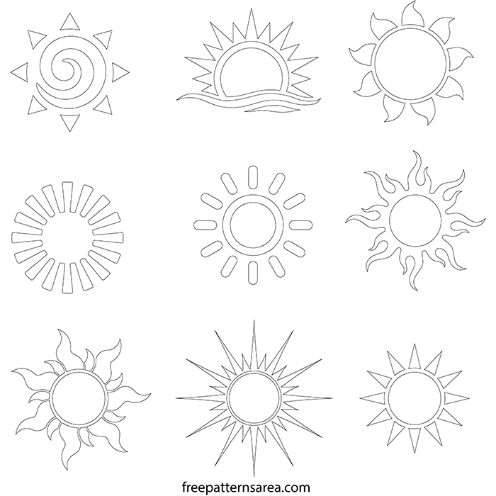 image about Sun Stencil Printable named Sunshine Vector Record Totally free Printable Stencils Templates