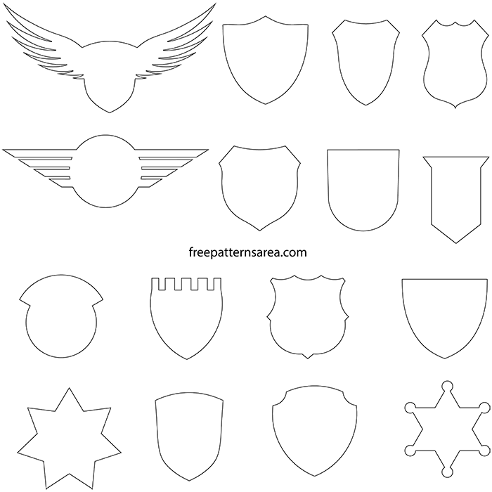 Printable Badge Crest Blank Outline Template