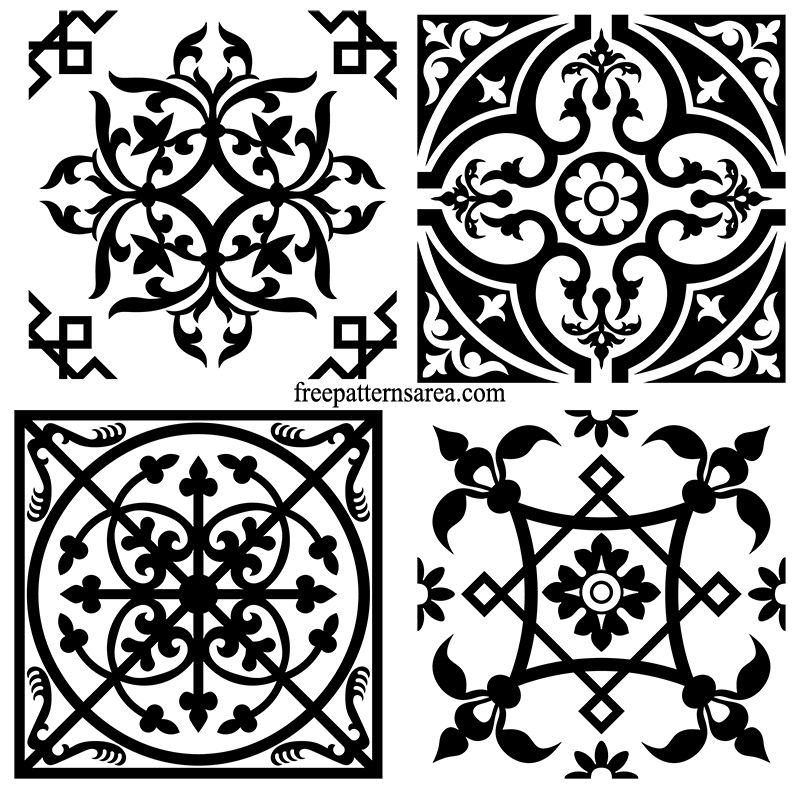 Decorative Square Ornament Tile Art Vector Patterns