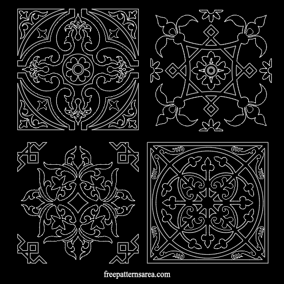 Decorative Square Tile Art Ornament Autocad Dxf Dwg Files