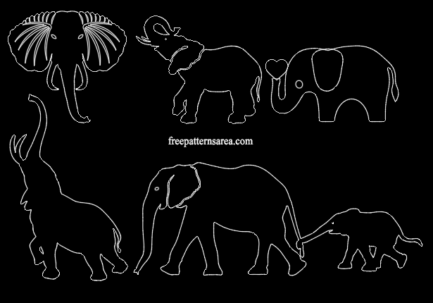 Elephant Autocad Dxf Dwg CAD Files.