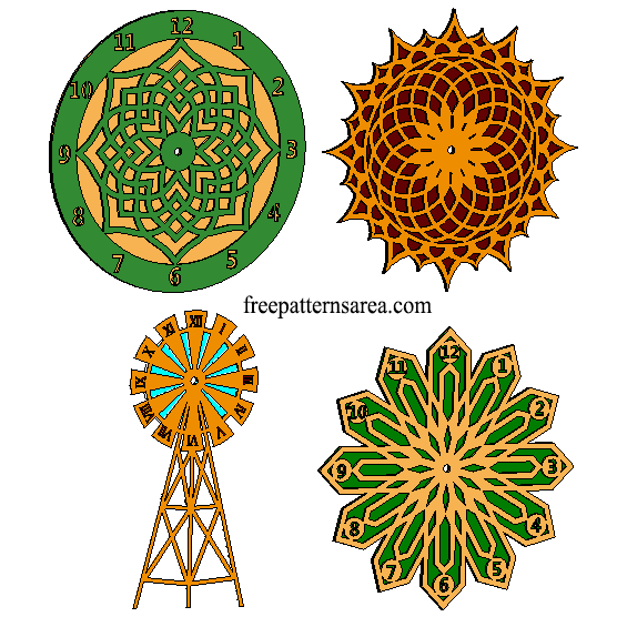 Laser Cut Free Wood Wall Clock DXF Plan Files | FreePatternsArea