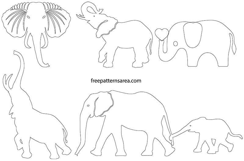Printable Elephant PDF Template Shapes