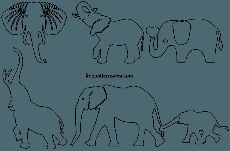 photograph relating to Printable Elephant Template identify Elephant Silhouette Vector FreePatternsArea