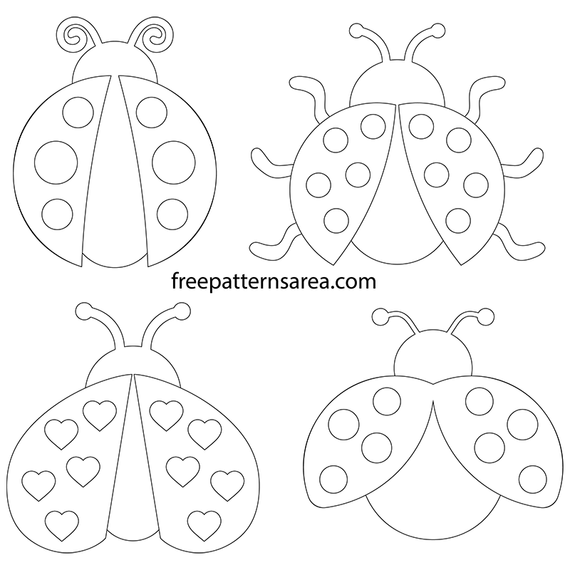 Printable Outline Ladybug Template Pattern