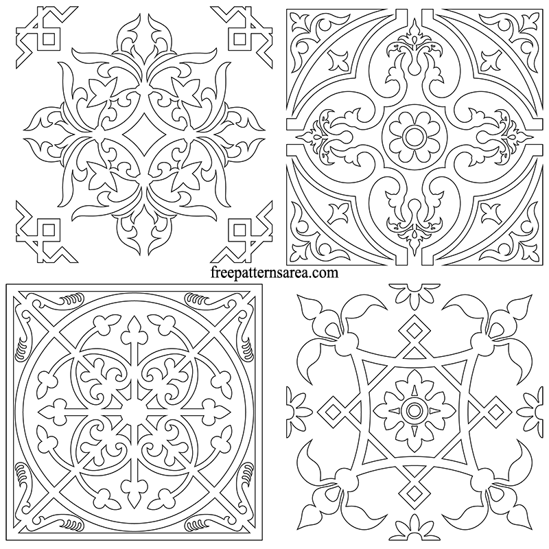 Printable Square Ornament Tile Templates