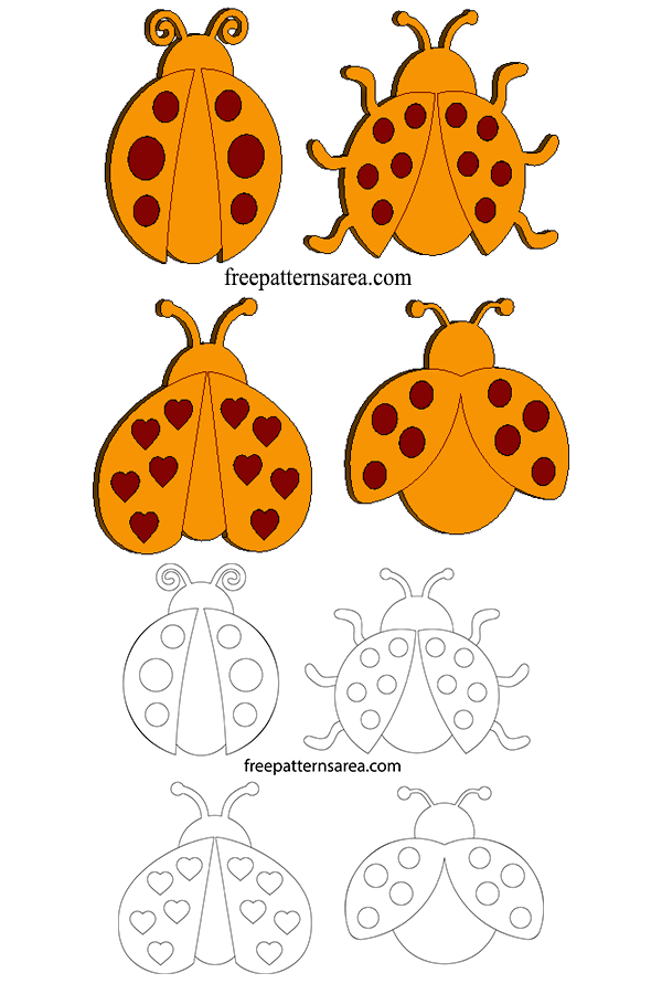 Wood Ladybug Laser Cut Craft Shapes Patterns