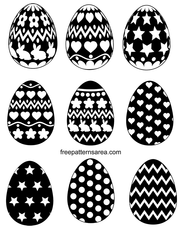 Black White Easter Egg Silhouette Vector Shapes