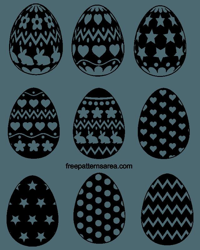 Black White Easter Egg Silhouette Vector Shapes