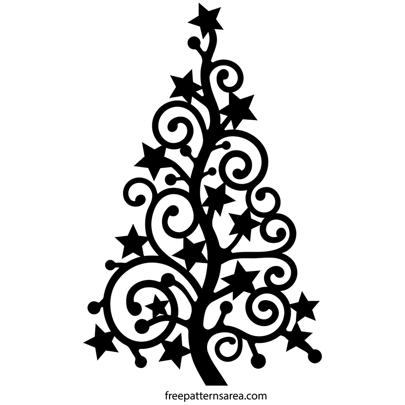 Christmas Tree Vector.Stylized Christmas Xmas Tree Silhouette Vector Art Free
