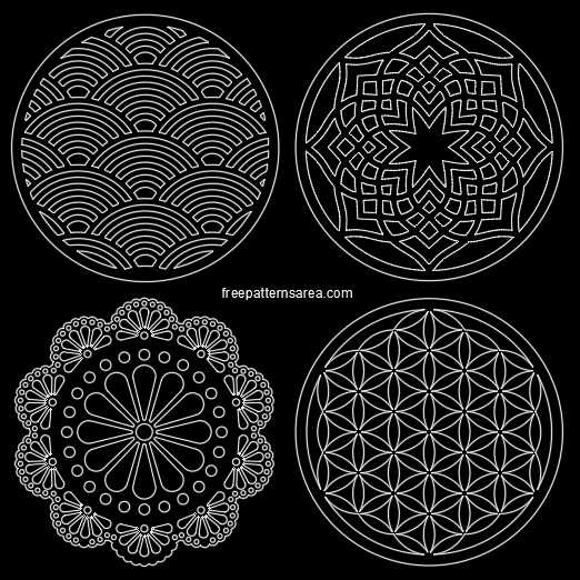 Circle Ornament Coaster Dwg Dxf Files