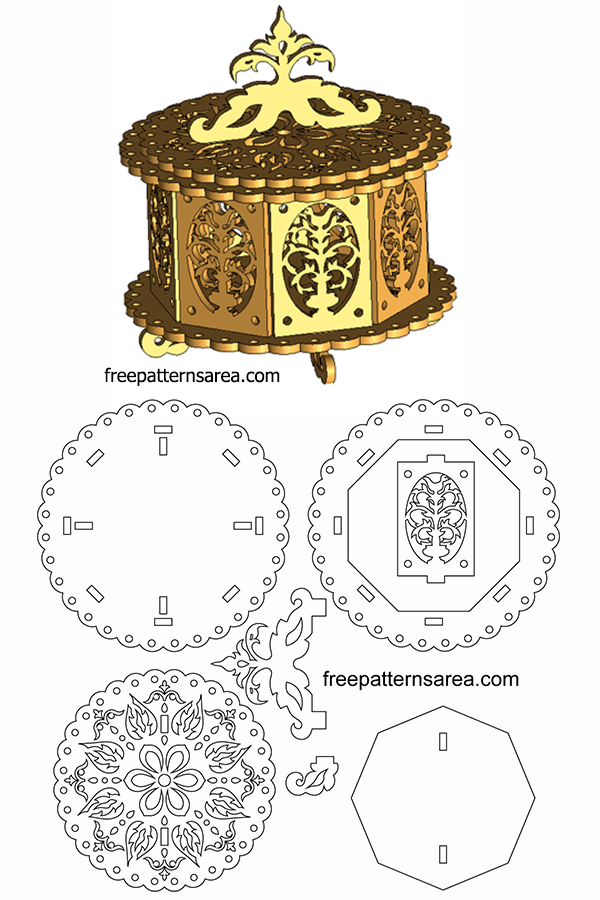 Laser Cut Wooden Cylinder Box Pattern