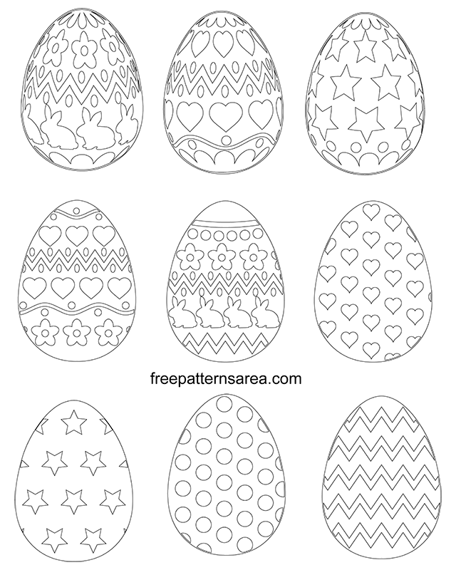 Easter Egg Shape Printables Template