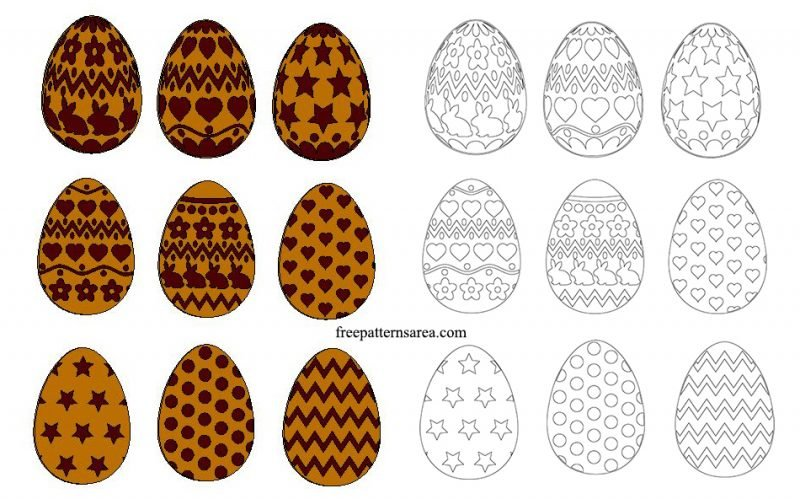 Easter Egg Wood Ornaments Engraving Template