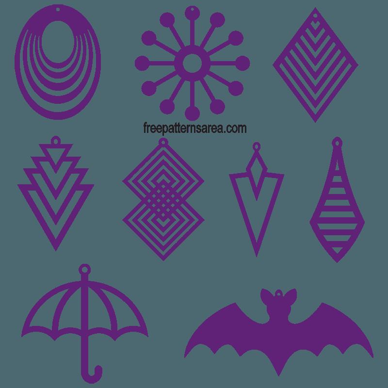 Laser Cut Wood Earrings Jewelry Templates | FreePatternsArea