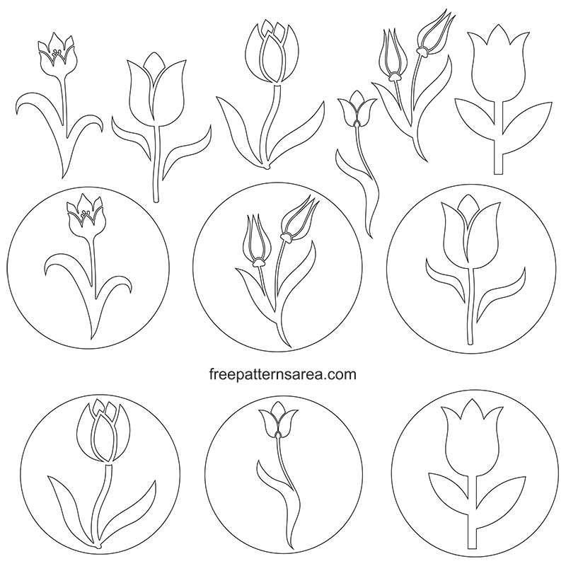 Free Printable Tulip Outline Template